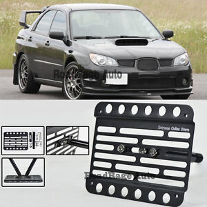 For 06 07 Subaru Wrx Sti Front Bumper Tow Hook License Plate Mount