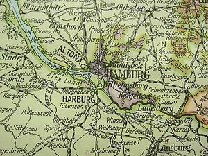 LARGE MAP GERMANY NORTH WEST SCHLESWIG HOLSTEIN BERLIN - Oldenburg map