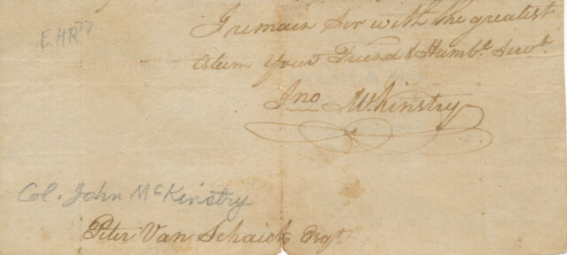 Col. John Mckinstry - Signature of the Revolutionary War Colonel