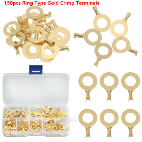 Ring Gold Cable Connector Crimp Terminals Non-insulated Assortment Kit Lug Wire
