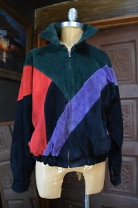 VTG-COMINT-Womens-Color-Block-Bomber-Suede-Leather-Jacket-Argentina-Made-Size-S