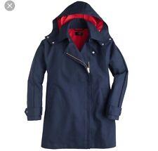 EUC J Crew Size Small S 4/6 Navy Hooded Coat Navy Blue Red Swing Parka Rain Coat