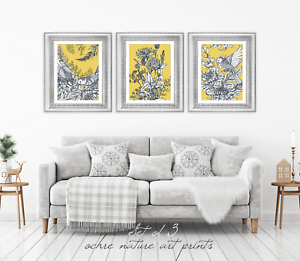 Set-of-3-Yellow-Ochre-Mustard-Nature-Wall-Art-Prints-Yellow-Wall-Art-Prints