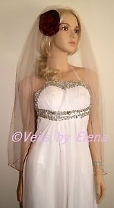 "Wedding Veil Fingertip Single Tier 54"" Width 40"" Length Colored Pencil Edge"
