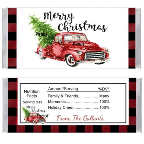 15 Red Truck Christmas Candy Bar Wrappers Favors