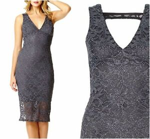 Details About Ex Quiz Grey Lace Glitter Bodycon Evening Occasion Dress Uk 12