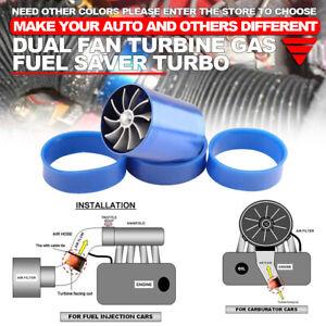 Air Intake Turbonator Dual Fan Turbine Supercharger Gas Fuel Saver Turbo