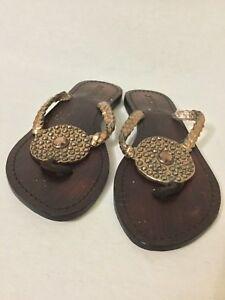 6964d5bc731791 Details about Mystique Wood and Glitter Tone Chain Jeweled Flip Flop Sandal  Flat Shoe Size 7
