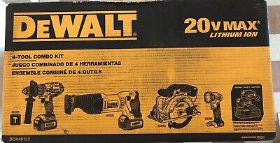 DeWalt DCK491L2 20V 20 Volt MAX Li-Ion 3.0 Ah 4-Tool Combo Kit BRAND NEW !!!