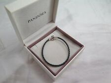 New Pandora Grey Leather Med 7.5 Bracelet 590705CGY S2 GIFT SET AVAILABLE Gray