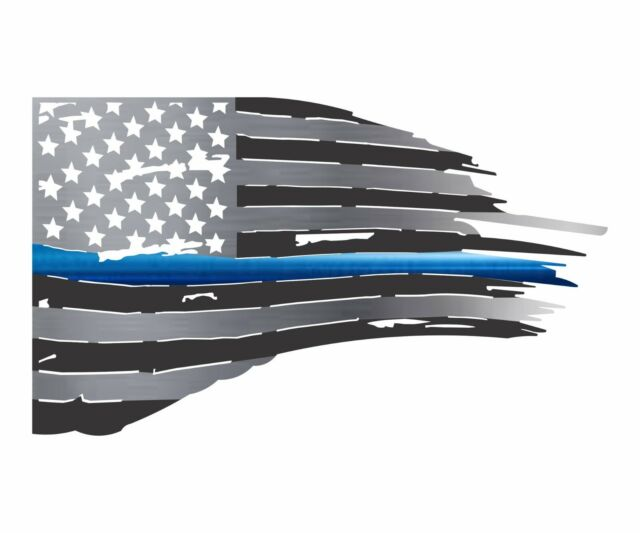 Thin Blue Line (Police) Tattered American Flag Made in USA Metal Wall Art