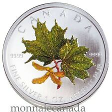 2002 Canada $5 Dollars Fine Silver - Maple Leaf Coloured - Spring  A7016- NO TAX