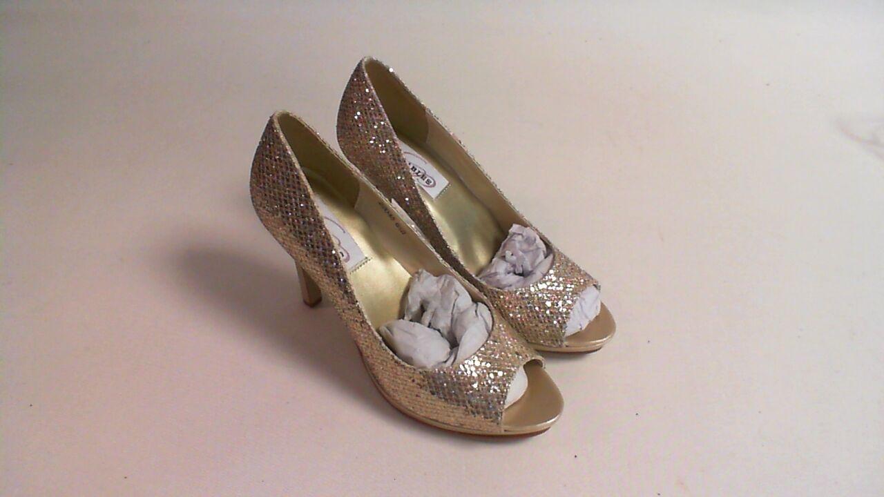 Dyeables Peep Toe Shoes - Champagne Gold Glitter - Sari - US 6B UK 4 #21E298