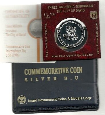 1996 Israel 3000-Three Millenia Jerusalem City of David Bu Coin 14.4g Silver+COA