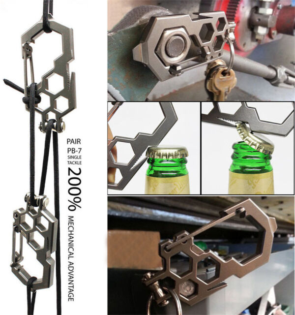 Para-Biner EDC Camping Multi Werkzeug Edelstahl Karabiner Opener mit Pulley sg