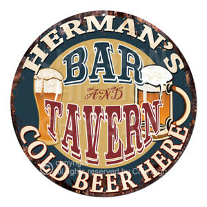 CPBT-0183-HERMAN-039-S-BAR-N-TAVERN-COLD-BEER-HERE-Sign-Father-039-s-Day-Gift-For-Man