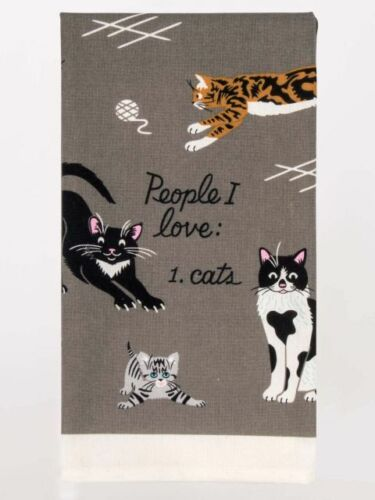 "Cats/"" Dish Towel Blue Q /""People I Love"