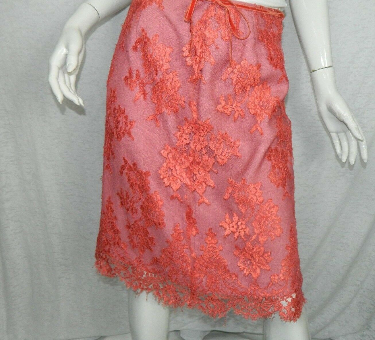Anthropologie Tracy Reese Skirt Lace Pink Party Romantic Fully Lined Size 4