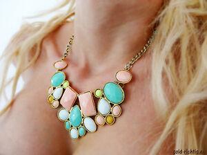 Statement-Kette-pastell-Geschenk-Halskette-Vintage-Collier-Blogger-gold-bunt