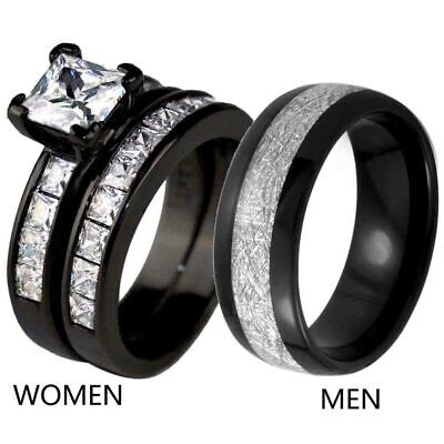 RingHeart 2 Rings His and Hers Couple Rings Black Plated Red Cz Womens Wedding Ring Sets Stainless Steel Mens Wedding Bands