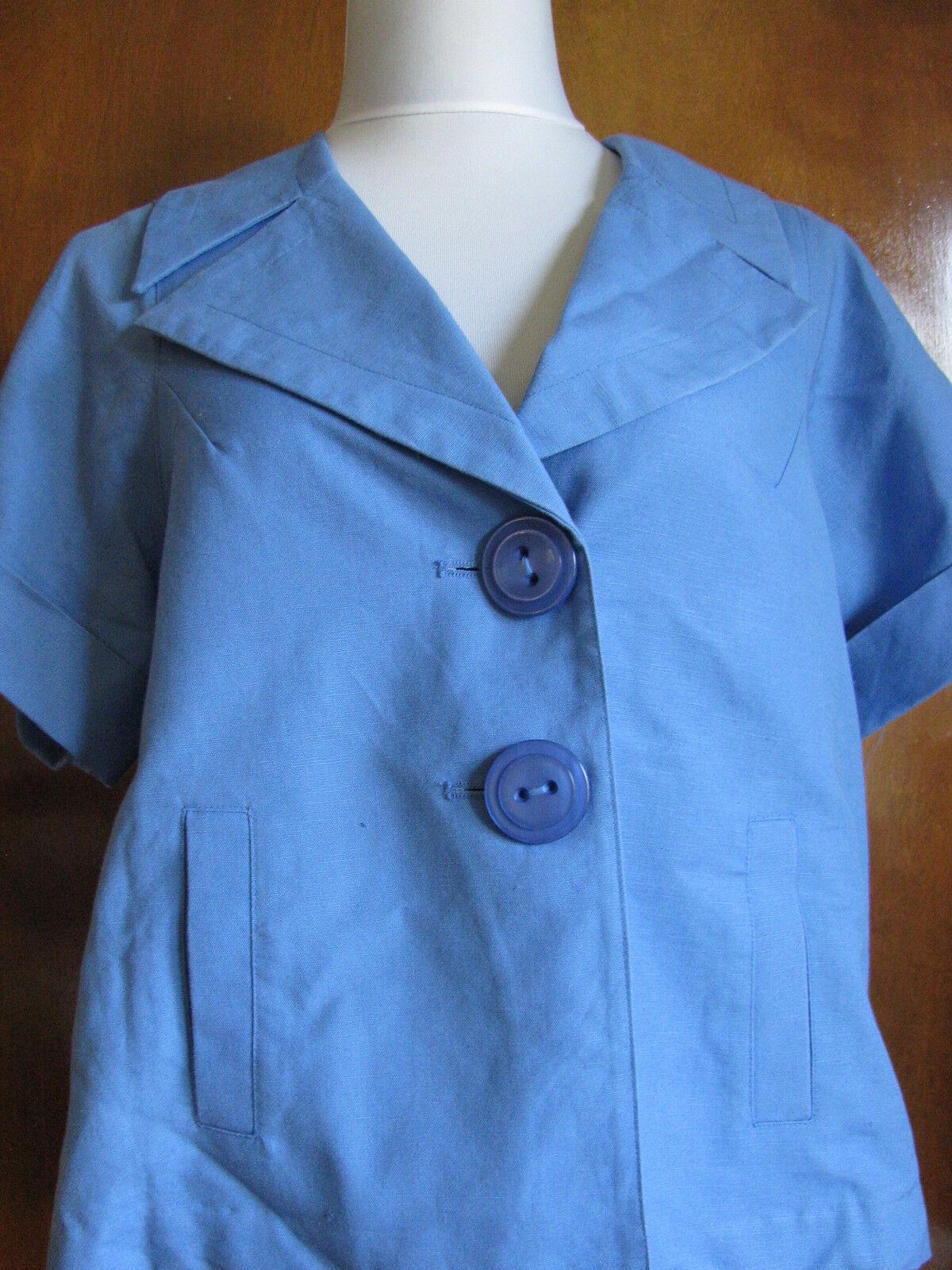 New w tags Elliott Lauren Women's bluee Linen Blazer Size 8 And 10