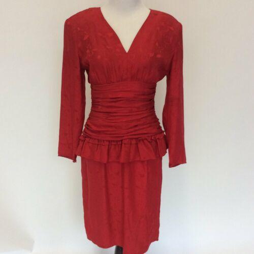1980's Vintage 100% silk red peplum cocktail dress