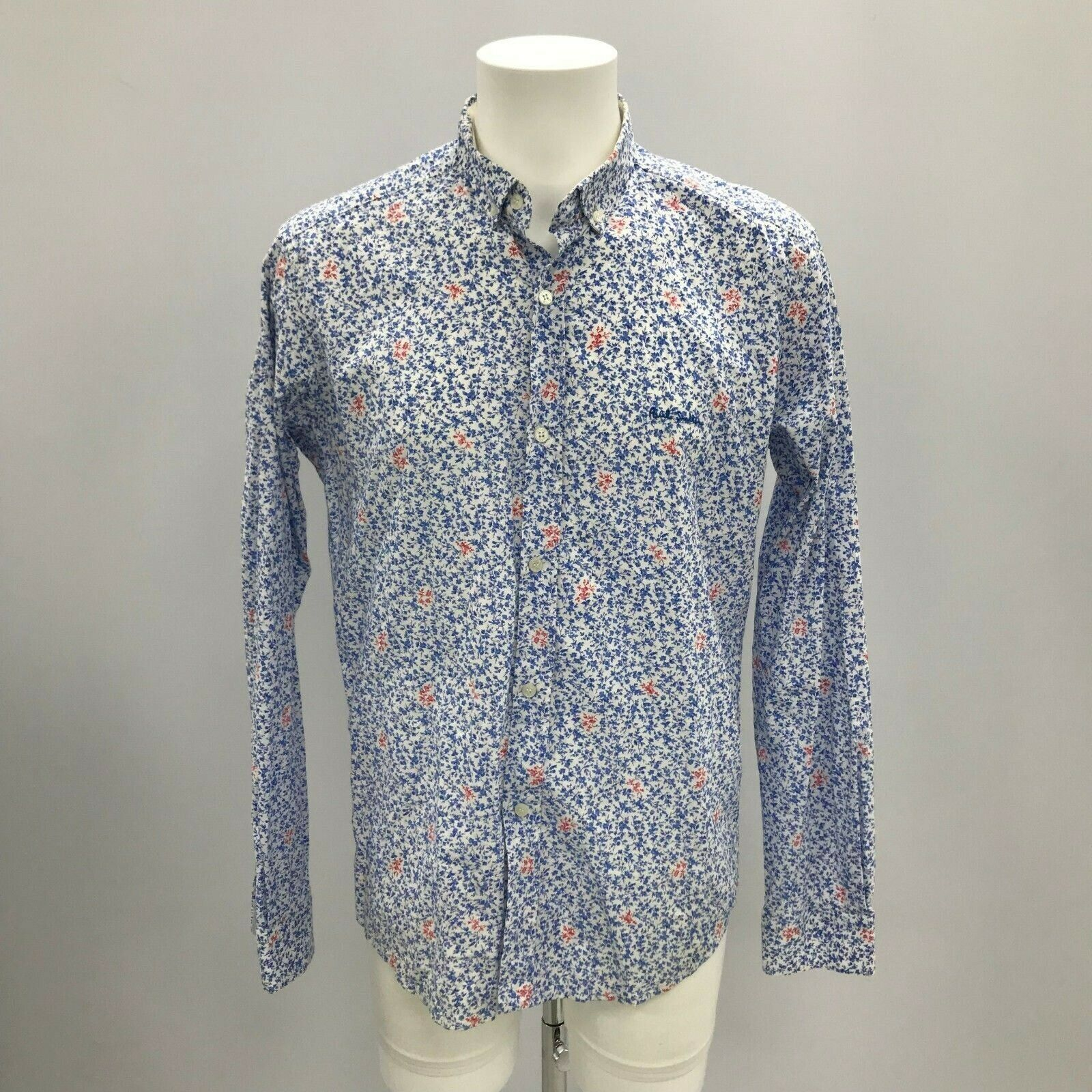 A Genuine Men's PAUL SMITH Floral Print Long Sleeves Shirt Size UK Large  7