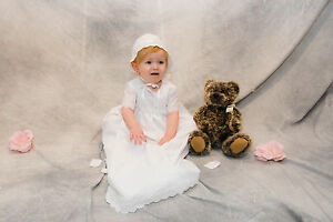 """""""Lisa"""" is a Charming Christening Gown Handmade Using Quality Eyelet Fabric"""