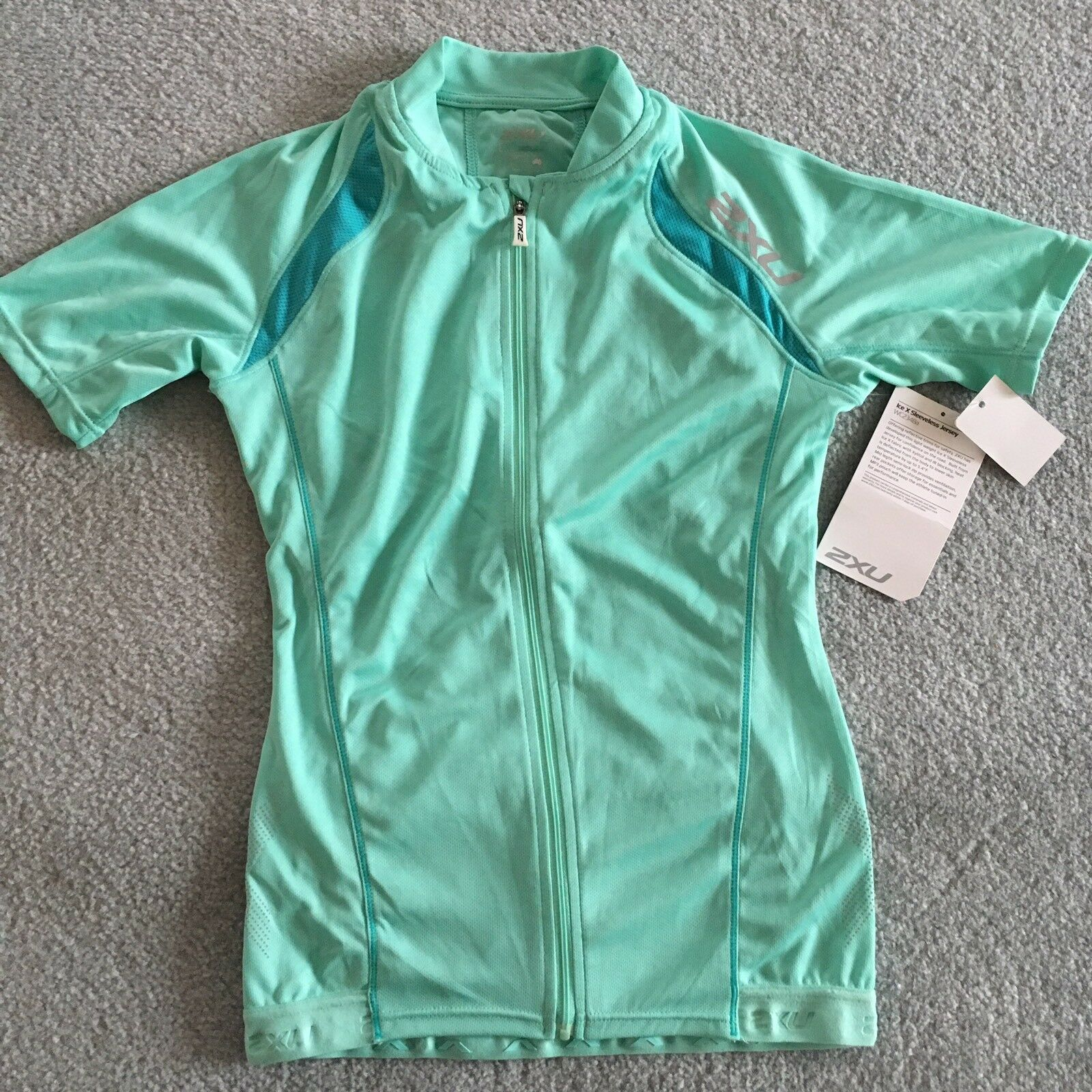 2XU Womens Cycling Ice X Green Mist Jersey - Size Small - RRP  180