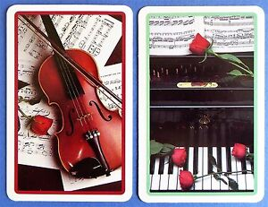PAIR-SWAP-PLAYING-CARDS-STEINWAY-PIANO-amp-VIOLIN-WITH-MOZART-MUSIC-IVORY-TOWER