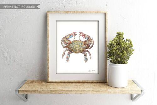 Blue Crab Watercolor Art Print by Dan Morris Option to Mount Pick size