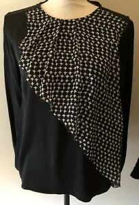 Ellelauri-silk-blouse-top-small-black-amp-white-Excellent