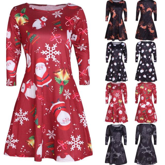 Christmas Santa Xmas Ladies Evening Party Long Sleeve Casual Skater Swing Dress