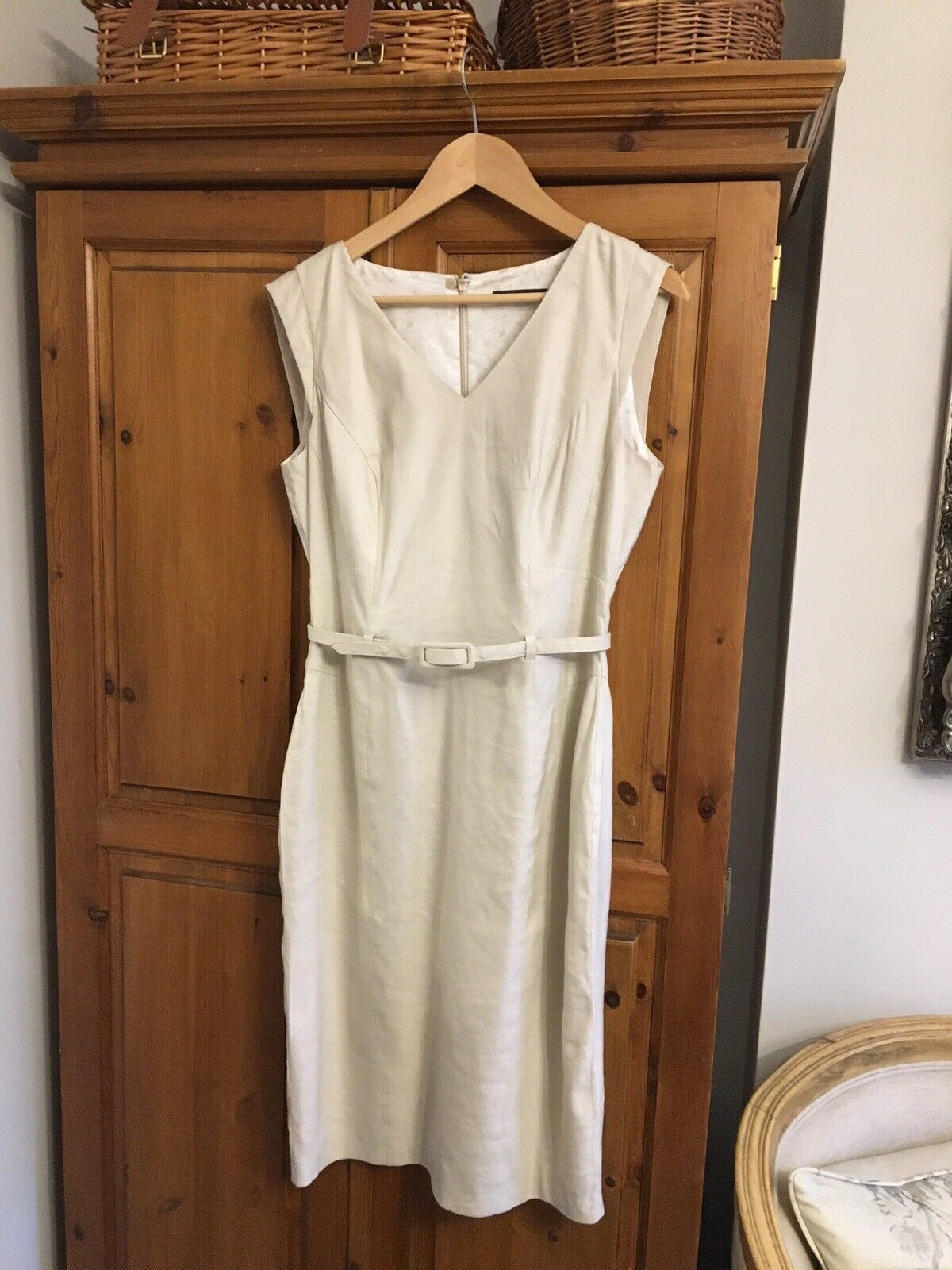 M&S Lined Linen Dress Fitted Style With Belt UK 10 Beige Colour