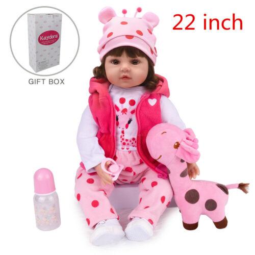 "22/"" Reborn Baby Dolls Vinyl Silicone Girl Lifelike Toddler Newborn Birth Gift"