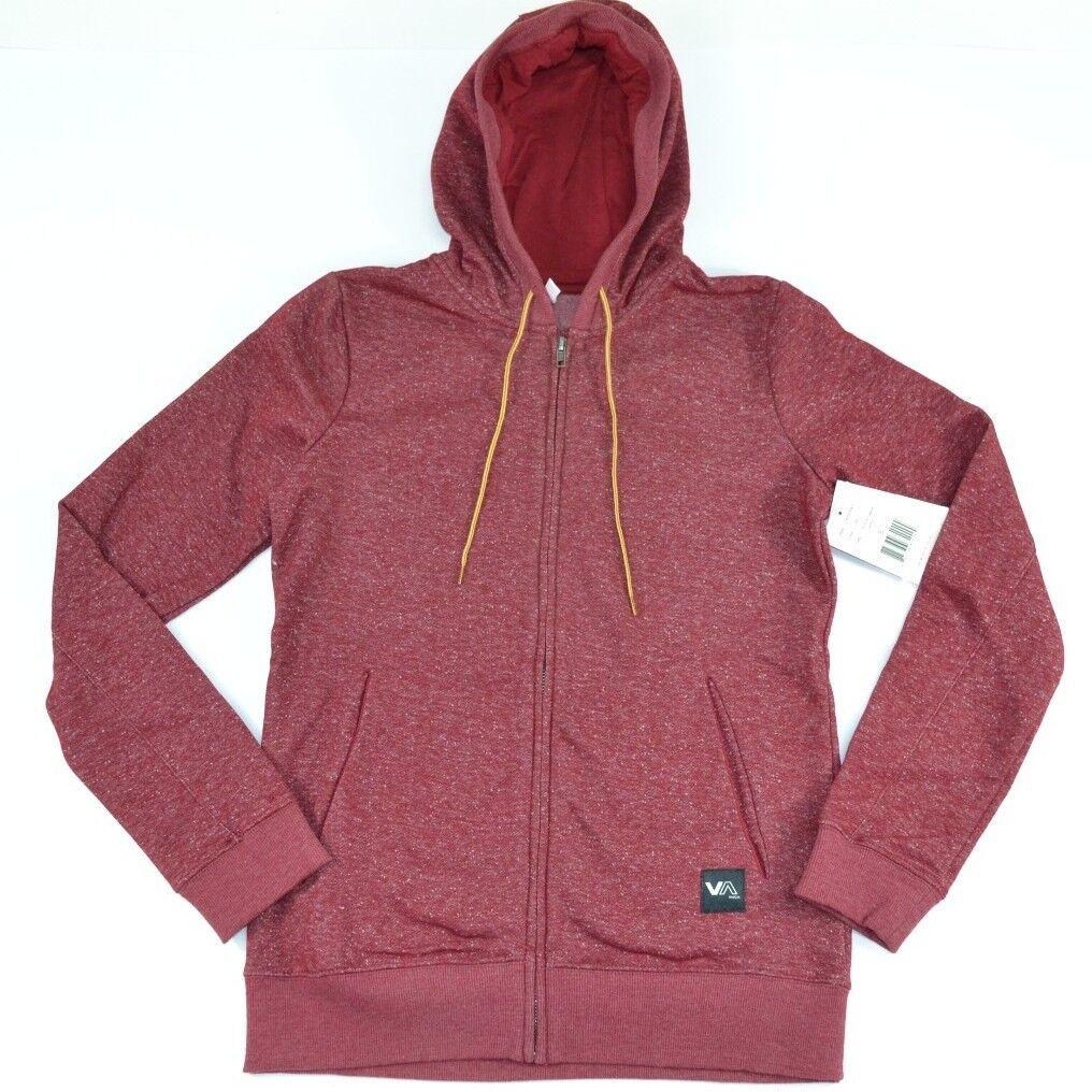RVCA FLEECE COLORS III Heather Red Zip Up Hooded Junior's Hoodie Sweatshirt