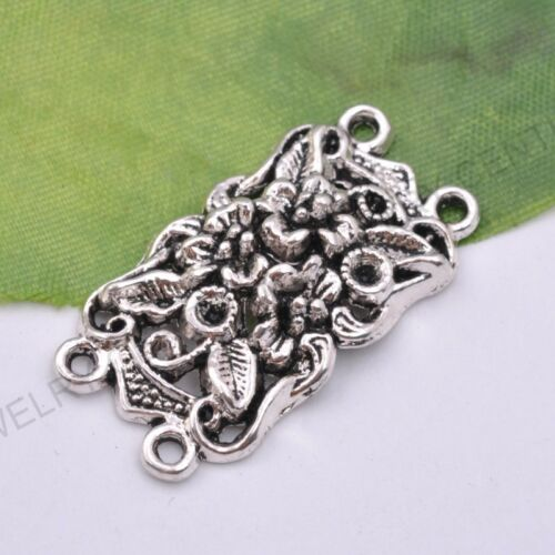 1Pcs Tibetan Silver Rectangle Flower Charms Connector Jewelry Finding 36X19MM