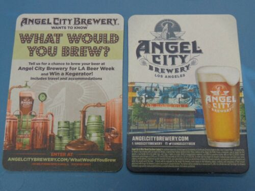 BEER Brewery Collectible Coaster ~ ANGEL CITY Brewery ~ Los Angeles CALIFORNIA