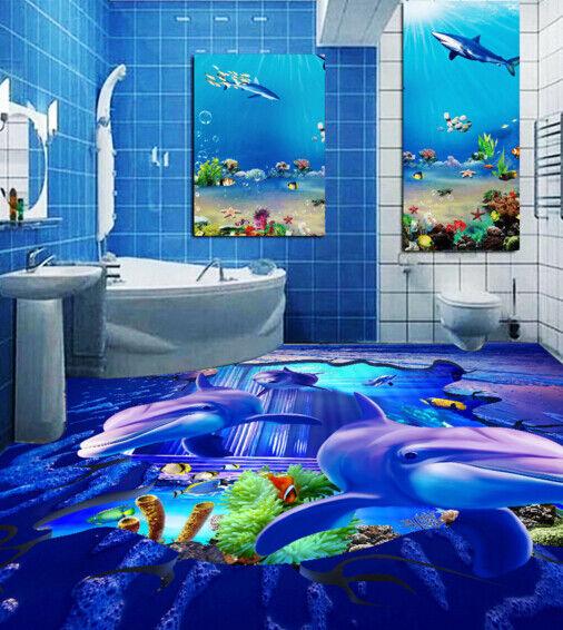 3D Delphine Fisch 454 Fototapeten Wandbild Fototapete Tapete Familie DE Lemon
