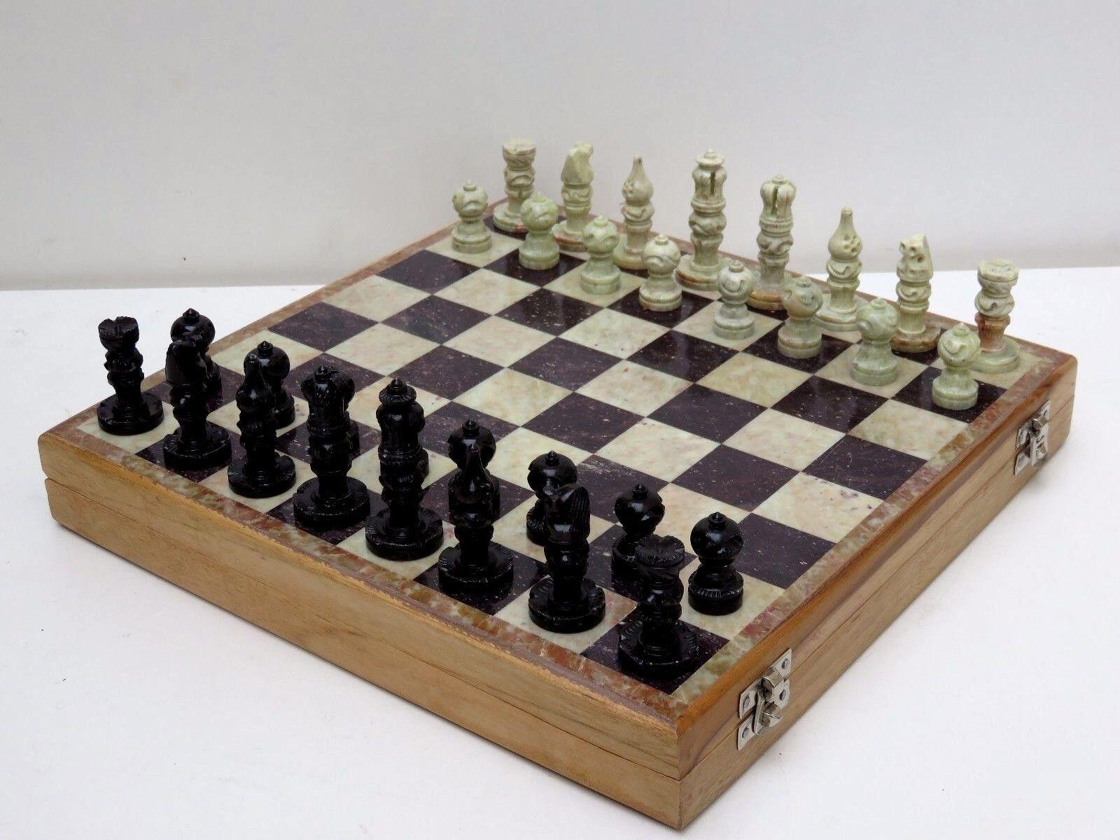 10  x 10    RARE MARBLE STONE unique India Chess Pieces and Board Chess Set 29450e