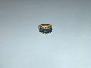 Vintage Adjustable Blue Enamel Rhinestone /& Faux Pearl Elephant Ring