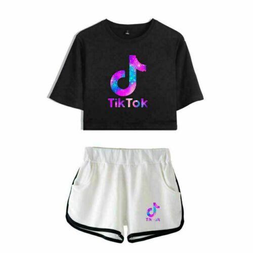 Mädchen Frauen Tik Tok Crop Top T-Shirt Shorts Set Sportbekleidung Damen Outfits