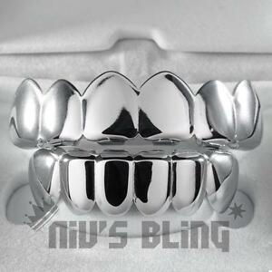 18K-White-Gold-IP-Plated-Mouth-Teeth-GRILLZ-Top-amp-Bottom-JOKER-Silver-Grill