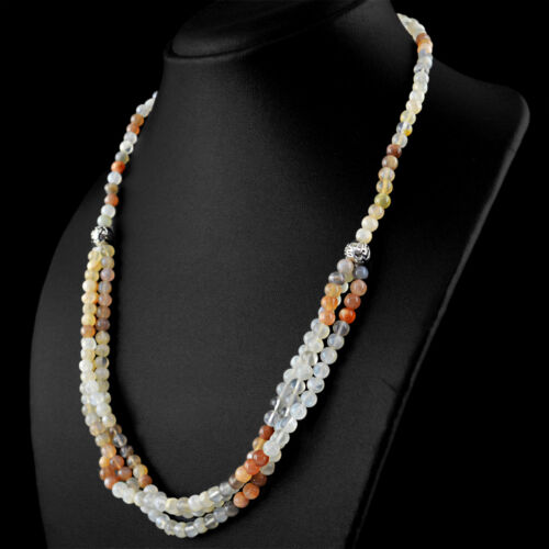 Multicolor Moonstone 195.00 Cts Natural Single Line Round Shape Beads Necklace