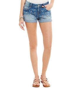 Miss-Me-Distressed-Denim-Shorts-Sz-27-Raw-Hem-Cuffed-Pink-Floral-Studs-NWT-89