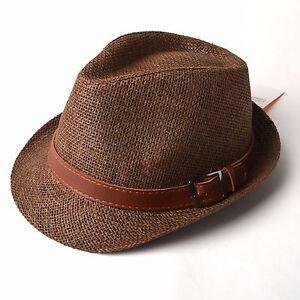 Details about Unisex Men Women Faux Leather Belt Straw Fedora Hat Trilby  Cuban Cap - H032 e98e076b88f4