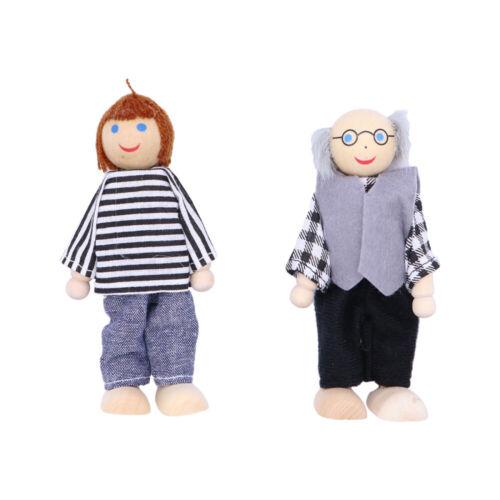 7x Stoffkunst Puppen Holz Puppen Satz //Puppen Familie Mädchen Kinder Spielzeug