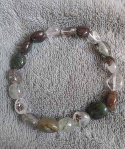 Green phantom Ghost Quartz Bracelet Crystal Healing Irregular Stone
