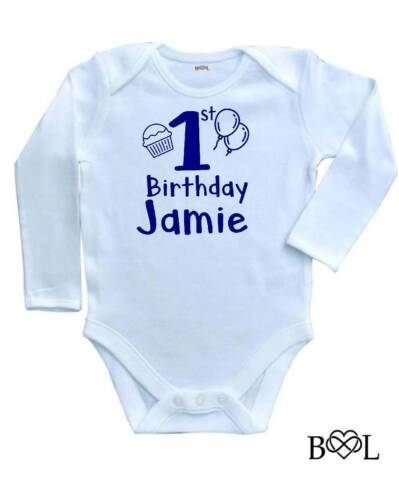 BABY GIRL/'S BABYGROW 1ST BIRTHDAY VEST CUPCAKE LONG NAME PERSONALISED ONE FIRST