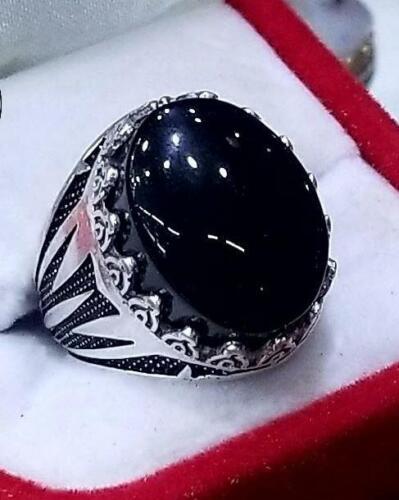 Yemeni Handmade 925 Sterling Silver Agate stone Men Ring Size R
